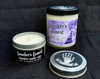 Lavender's Lament - Lavender Amber & Oud - Hand-poured Soy Candle - Hand of Glory Signature Scent