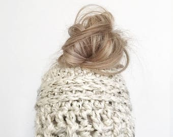 Messy bun beanie   WHITEOUT   thick version   featured in OATMEAL