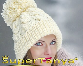SUPERTANYA hand knitted soft wool hat with giant pom pom in ivory cream by  SuperTanya 4925ee50ad4