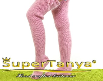 Made to order thick and fuzzy hand knitted long socks mohair stockings in light pink by SuperTanya