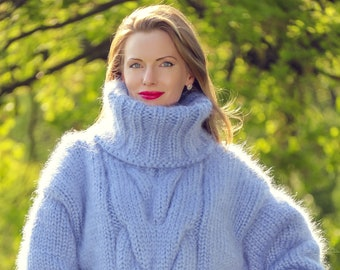 Thick cable knit blue winter sweater hand knitted with 6 strands fuzzy mohair yarn by SUPERTANYA