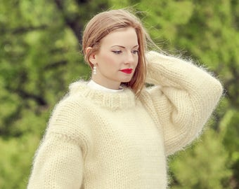 Mega thick sweater handmade with 10 STRANDS mohair by SuperTanya