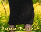 Black fuzzy handmade mohair skirt by SuperTanya