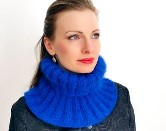 Blue turtleneck hand knitted mohair separate polo neck warmer by SuperTanya