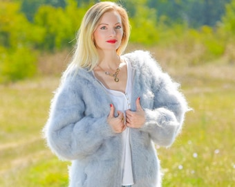 Thick fuzzy mohair sweater cardigan with zipper hoodie hand knitted jacket SuperTanya