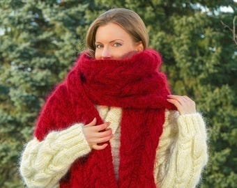 Extra long cable red mohair scarf, hand knitted luxury thick warm shawl by SuperTanya