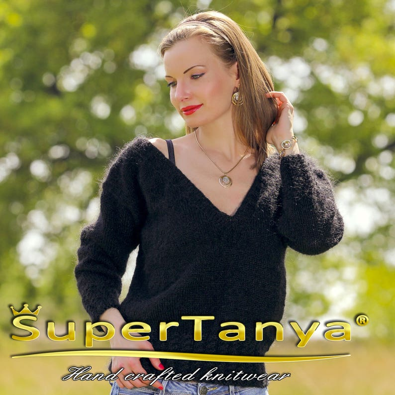 Cropped black mohair sweater by SuperTanya