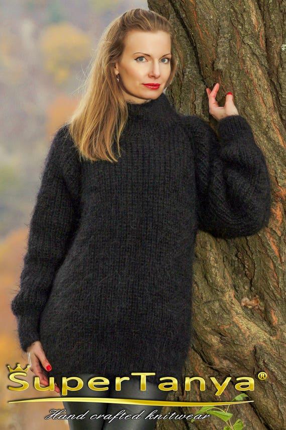 9e0e05cd1e Black thick fuzzy mohair sweater by SuperTanya