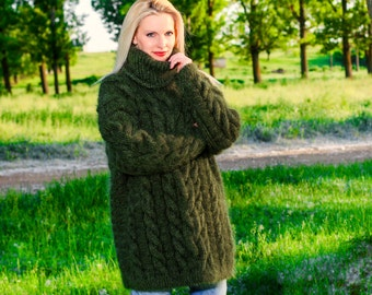 Made to order chunky hand knitted mohair sweater in khaki green with cable pattern by SuperTanya