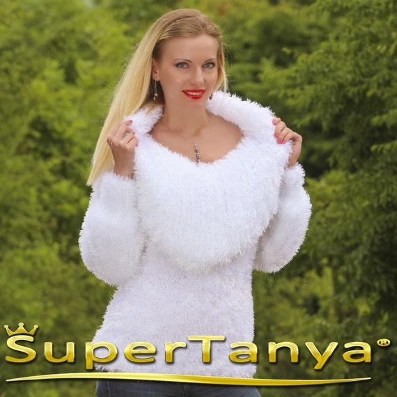 Fuzzy eyelash yarn wrap cardigan in black by SuperTanya