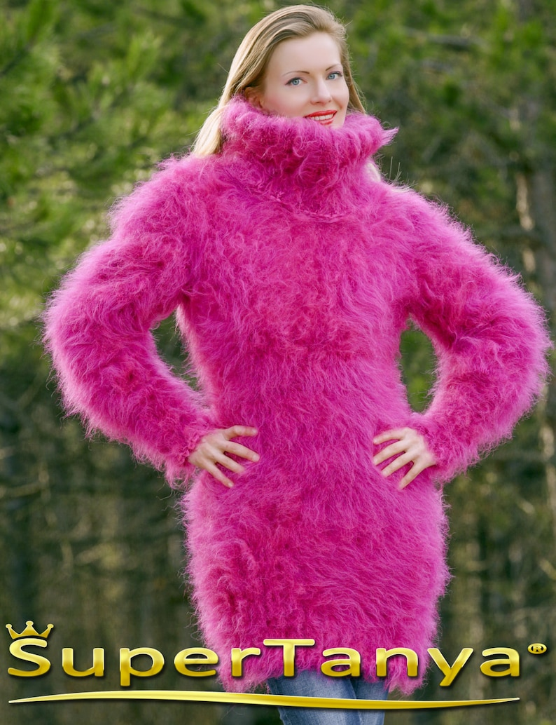 Custom made beautiful thick and fuzzy hand knitted pink purple melange mohair sweater dress by SuperTanya