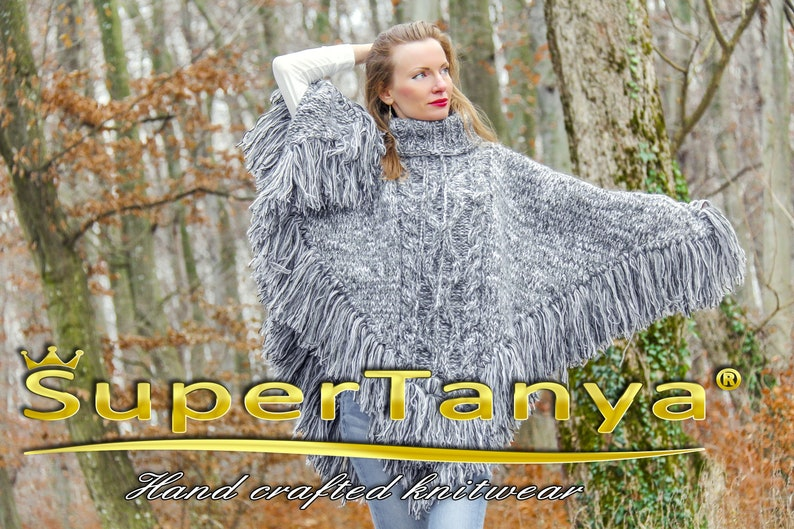 Grey wool poncho hand knitted designer wool sweater cape with fringes by SuperTanya