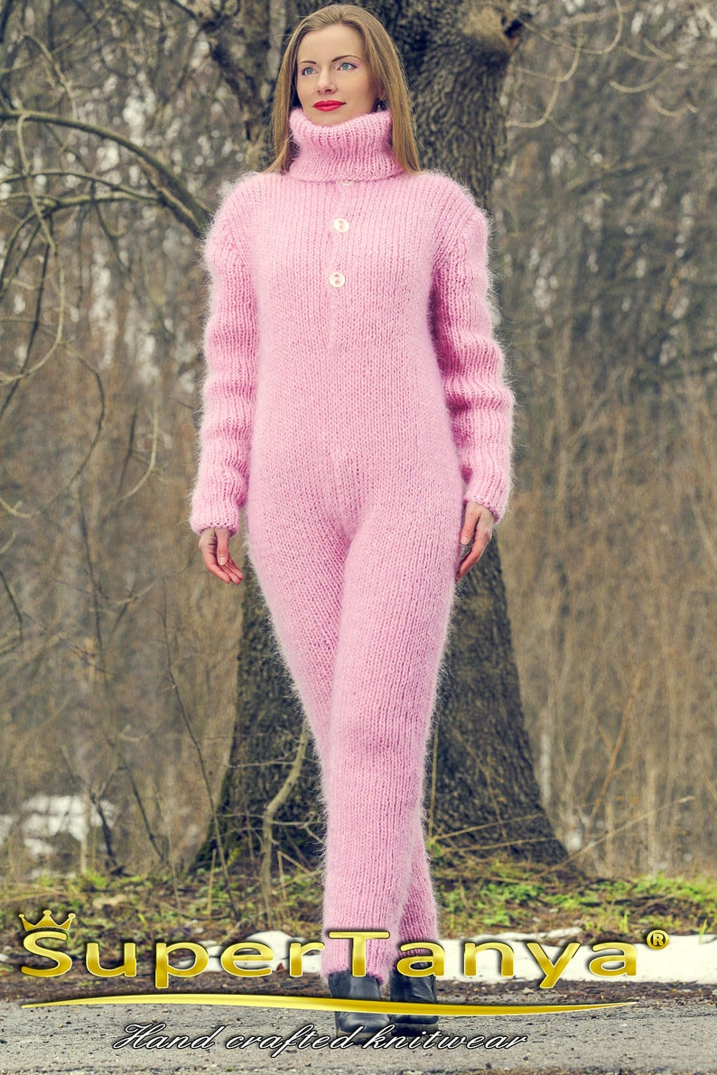 S M size Pink hand knitted mohair catsuit fuzzy ski bodysuit handgestrickte overall on sale