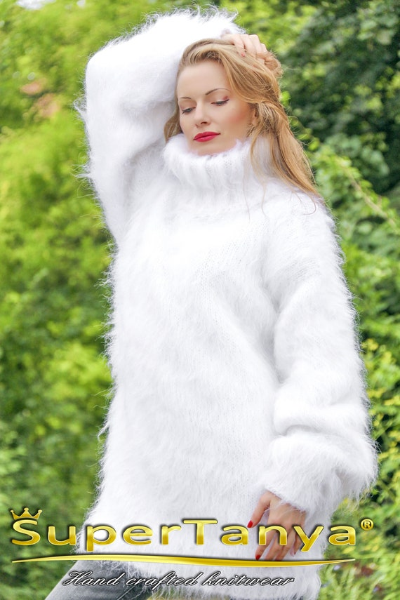 eff267ba95 SuperTanya white fuzzy mohair sweater with turtleneck