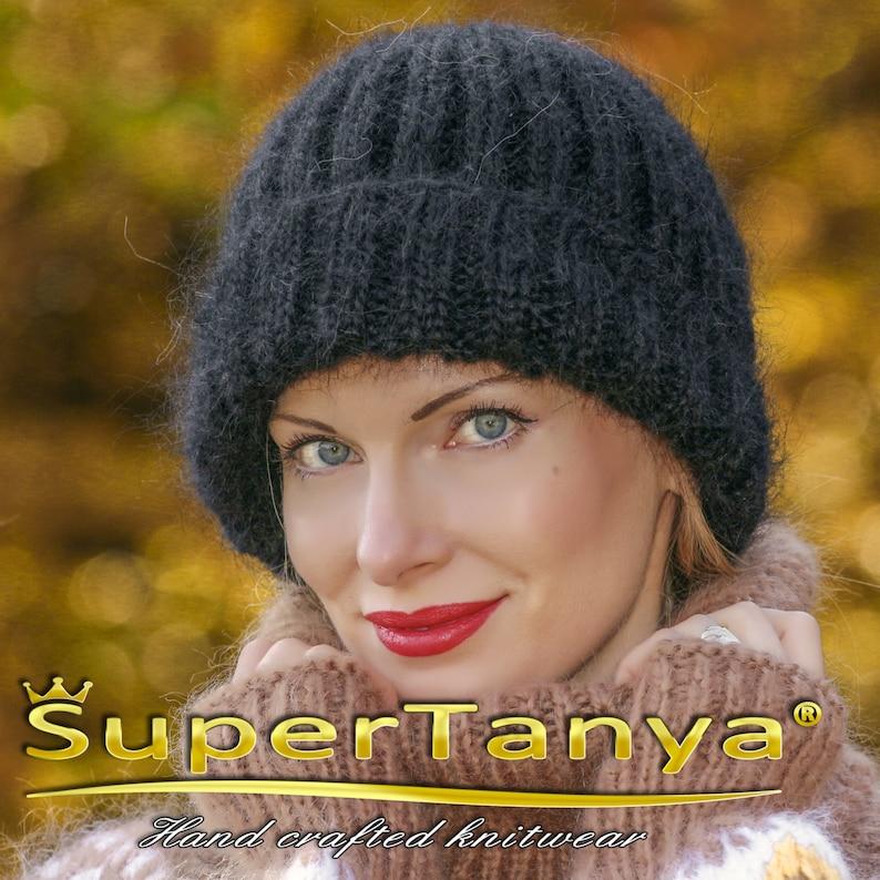 5dddd063d98a75 SUPERTANYA black mens mohair beanie warm hand knitted fuzzy   Etsy