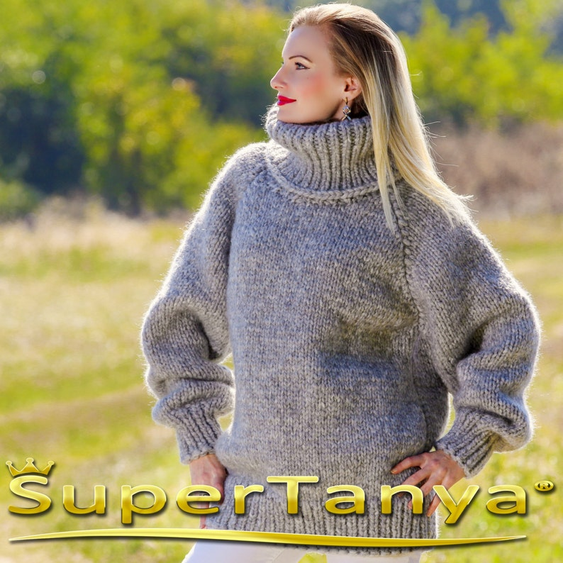 Handmade mohair sweater in light gray by SuperTanya