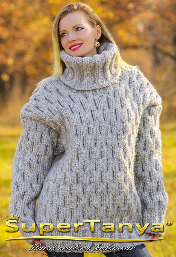 d6e914de94 Mega thick and heavy hand knitted mohair wool sweater in gray