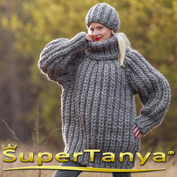 b67d71c360 Mega thick and heavy hand knitted mohair wool sweater in grey