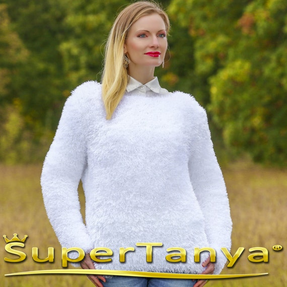 ebd3d460d7 Made to order fuzzy hand knitted eyelash yarn sexy sweater top
