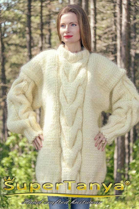 3e32689fea Cable knit thick ivory sweater handmade with 5 strands fuzzy