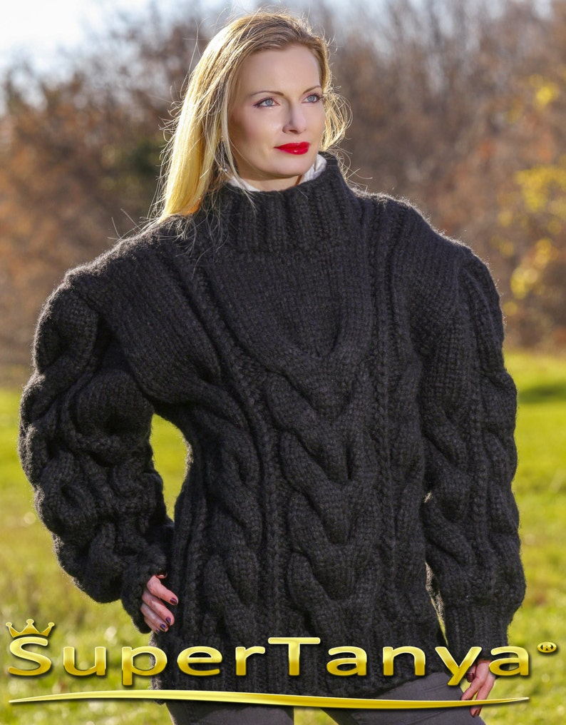 98c75e1900 Mega thick and heavy hand knitted mohair wool sweater in