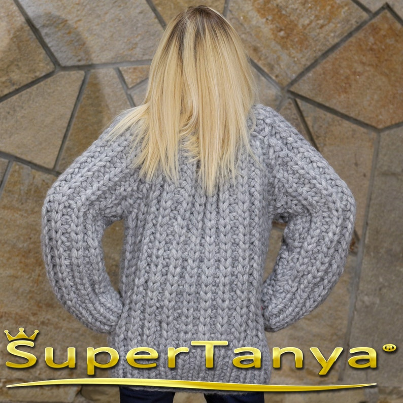 Mohair wool sweater in grey with hat by SuperTanya