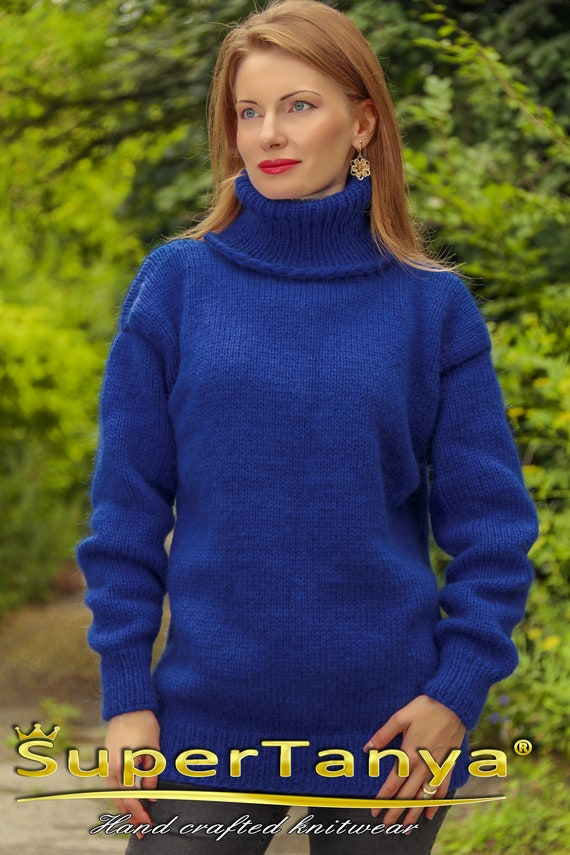 463c1bd1bb Blue wool sweater hand knitted turtleneck jumper by SuperTanya