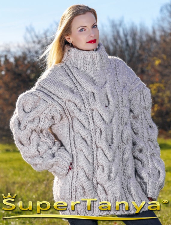 90233d7c6b Mega thick and heavy hand knitted mohair wool sweater in light