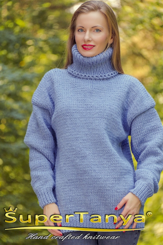 6016d0a256 Blue wool sweater hand knitted warm turtleneck jumper by
