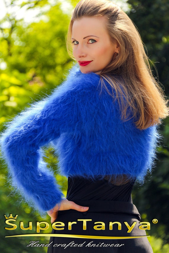 f310ce1d83 Fuzzy blue sweater cropped mohair top by SuperTanya