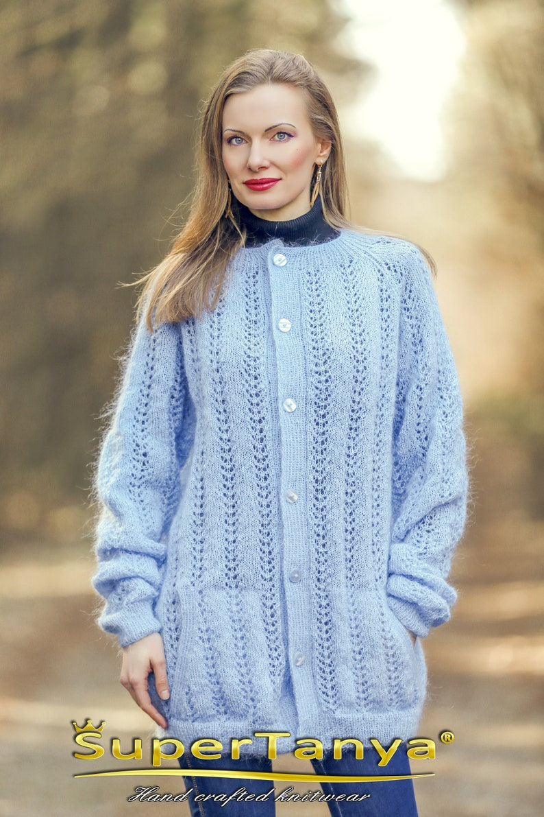 c4677a70466 Light blue cardigan with fine lace pattern SuperTanya