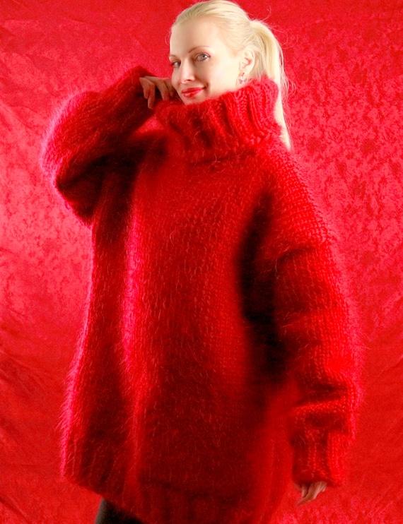 Dikke rode mohair trui door SuperTanya | Etsy