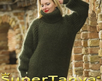 Made to order hand knitted thick ribbed mohair sweater in khaki green by SuperTanya