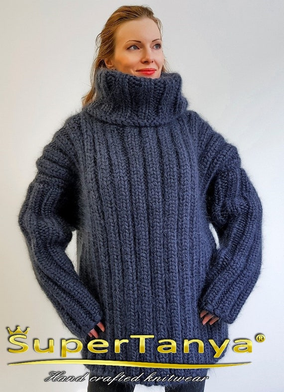 Ribbed mohair wool sweater in beige by SuperTanya