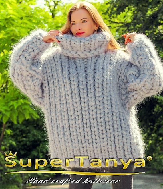 Mega dikke grijze mohair zware trui dikke jumper door | Etsy