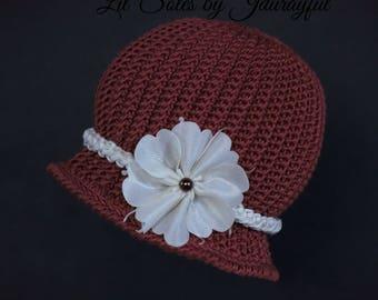 Crochet Baby Hat, Baby Girl Hat, Baby Flapper Hat, Baby Shower Gift, Red Baby Hat, Baby Beanie, Baby Cloche Hat, Newborn Baby Hat 0-3 Months