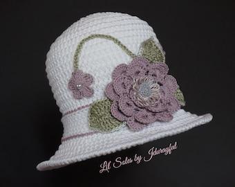 Crochet Baby Hat, Baby Girl Hat, Baby Sun Hat, Baby Shower Gift, White Baby Hat, Baby Beanie, Baby Cloche Hat,Newborn Baby Hat 0-3 Months