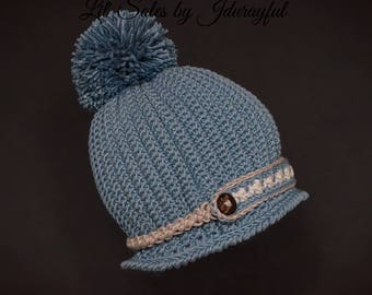 Crochet Baby Hat, Baby Boy Hat, Baby Pom Pom Hat, Baby Shower Gift, Blue Baby Hat, Baby Beanie, Baby Cloche Hat, Newborn Baby Hat 0-3 Months