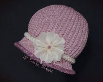 Crochet Baby Hat, Baby Girl Hat, Baby Flapper Hat, Baby Shower Gift, Pink Baby Hat, Baby Beanie, Baby Cloche Hat,Newborn Baby Hat 0-3 Months
