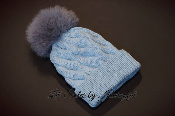 Knit Baby Hat Baby Boy Hat Baby Shower Gift Light Blue Baby  3e119426265
