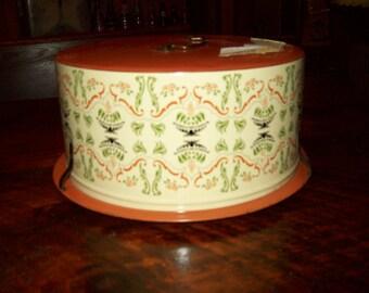 Cake carrier vintage metal kitchen farmhouse retro dessert party bakeware food orange 1950's grandmas Decoware USA