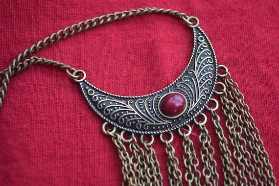 Boho Red Jasper Necklace, Dangle Necklace Chain, C