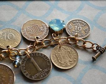 Coin Charm Bracelet, Old Coins Bracelet, Vintage Coin Jewelry, Gold Coin Bracelet, Coin Purse, Brass Coin Bracelet, Gold Disc Bracelet