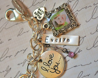 Charm Bracelet with Photo Charms, Silver Charm Bracelet, Name Bracelet, Gift for Mom, Gift for Wife, Gift for Grandma, Hand Lettered Sign,