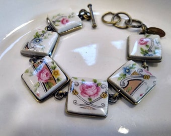 Vintage Lido W.S. George White, Floral Design, China Dinnerware, Vintage Tea Cups, Custom Broken China Jewelry, Recycled Upcycled Jewelry
