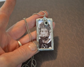 Soldered Pendant, Sterling Silver Soldered Pendant, 1 x 2 Soldered Glass, Soldered Charms, Photo Charm Pendant, Double Sided, Hockey Photo