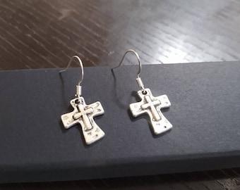 Silver Cross Earrings, 3D Silver Cross, Hammered Tibetan Silver Cross, Dainty Cross Earrings, Minimalist, Christian Jewelry, Small Cross