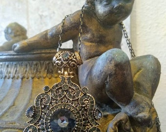 Bohemian Gray Crystal Ornate Necklace, Vintage Statement Jewelry, Large Elaborate Gray Rhinestone Pendant, Gray Black Crystal, Black Diamond