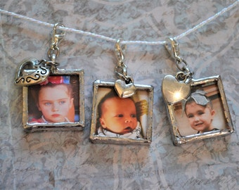 Soldered Photo Charms, Sterling Silver Charms, Silver Soldered Glass Pendant, Double Sided Photo Charms, Soldered Charm Pendant Jewelry
