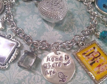 Custom Charm Bracelets, Home is Where we Are, Photo Charm Bracelet, Photo Gift, Congratulatory Gift, Milestone Gift, Yellow Bracelet, Pets